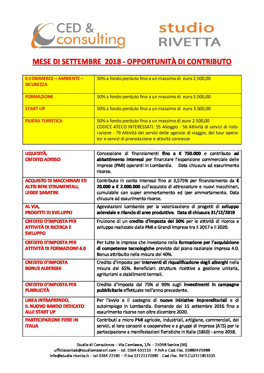 BANDI MESE DI SETTEMBRE 2018 – OPPORTUNITA' DI CONTRIBUTO